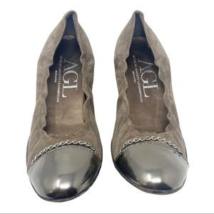 AGL chocolate brown suede cap toe ballet flats
